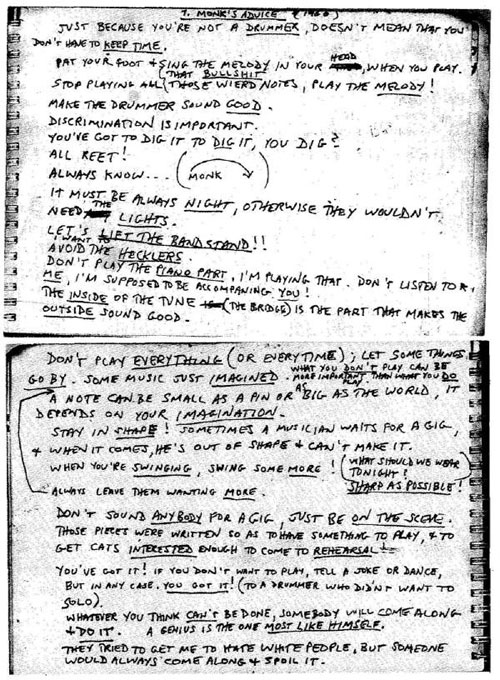 a scrawled note from Thelonious Monk to 'drummers'